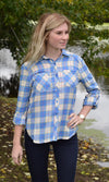 Blue Flannel Plaid Button Down - RM Tack & Apparel