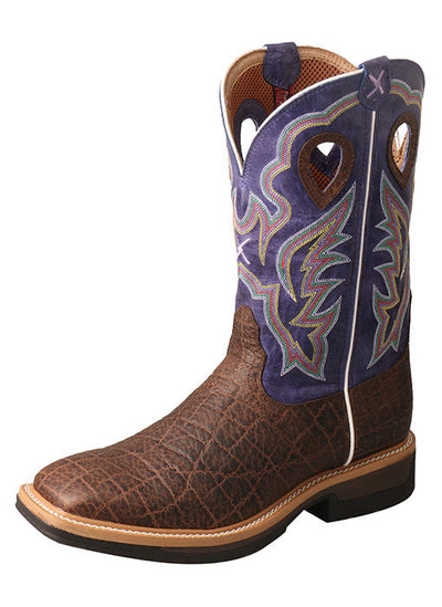 Twisted X Men's Lite Cowboy Workboot – Brown Elephant Print/Purple - RM Tack & Apparel