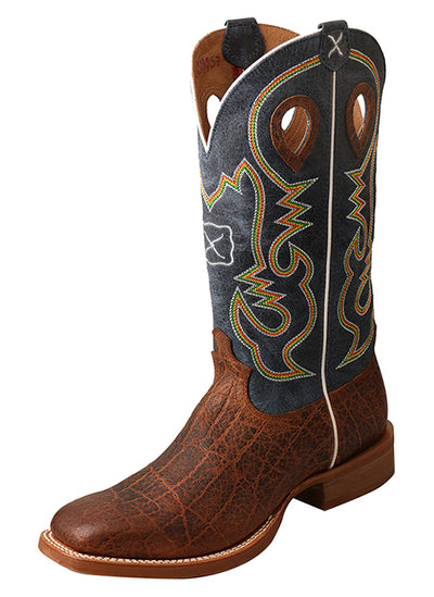 Twisted X Men's Ruff Stock Boot – Cognac Elephant Print/Blue - RM Tack & Apparel