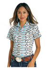 Rough Stock Cap Sleeved Women's Aztec Shirt - RM Tack & Apparel
