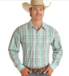 Panhandle Emerald Plaid Long Sleeve Snap Front Shirt