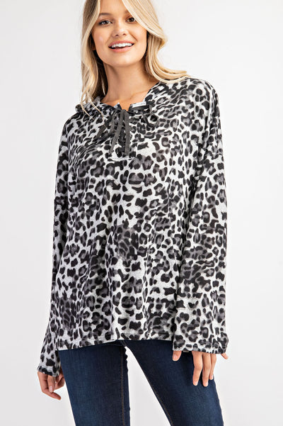 Women's Lace-up Leopard Hooded Top