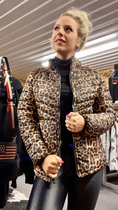 Women's Reversible Leopard & Black Puffer Jacket