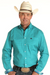Rough Stock Men's Stretch Turquoise Geo Print Long Sleeve Shirt