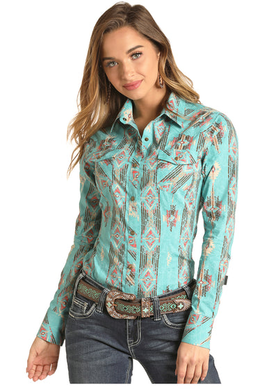 Rock & Roll Cowgirl Long Sleeved Turquoise Aztec Print Shirt - RM Tack & Apparel