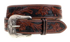 Men's Cognac Floral Tooled Belt with Black Background