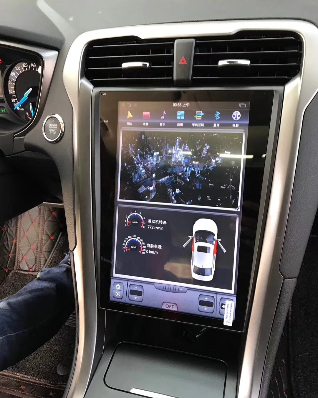 "Ford Mondeo Fusion 2013 - 2018 12.1"" Vertical Screen Android Radio Tesla Style with SYNC 2 and SYNC 3 Retaiend"