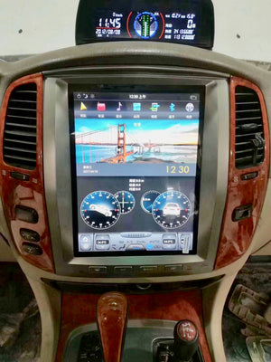 "Toyota Land Cruiser LC100 Lexus LX 470 2003 - 2007 12.1"" Vertical Screen Android Radio Tesla Style"