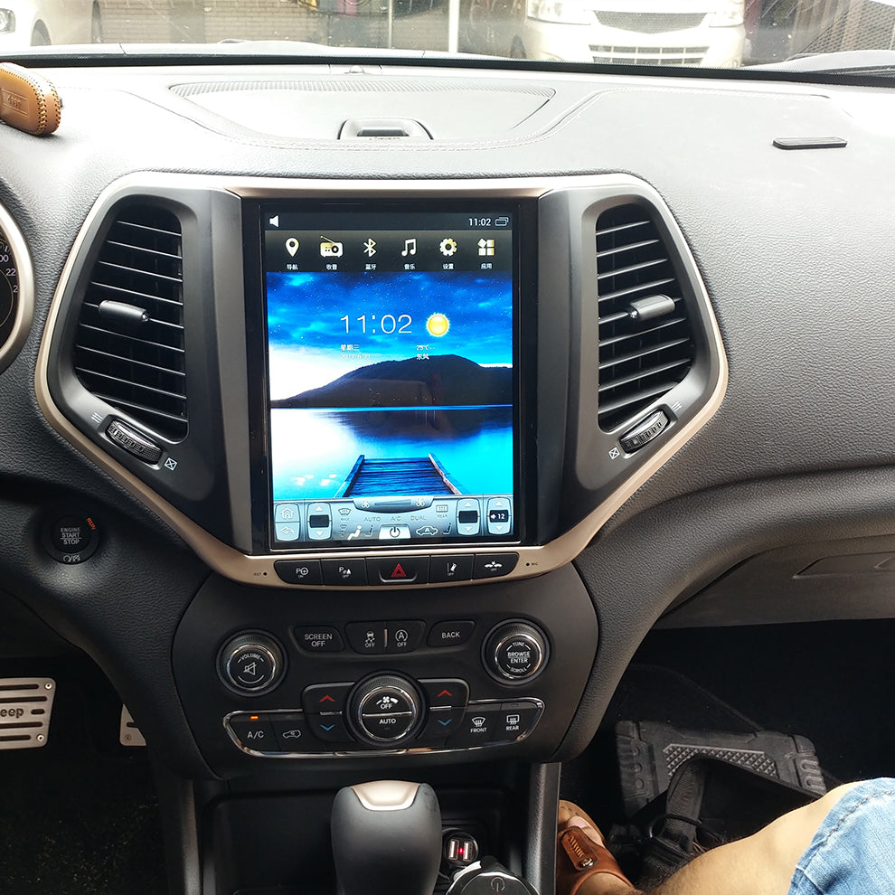 "[Open Box] Jeep Cherokee 2014 - 2018 10.4"" Vertical Screen Android Radio Tesla Style"