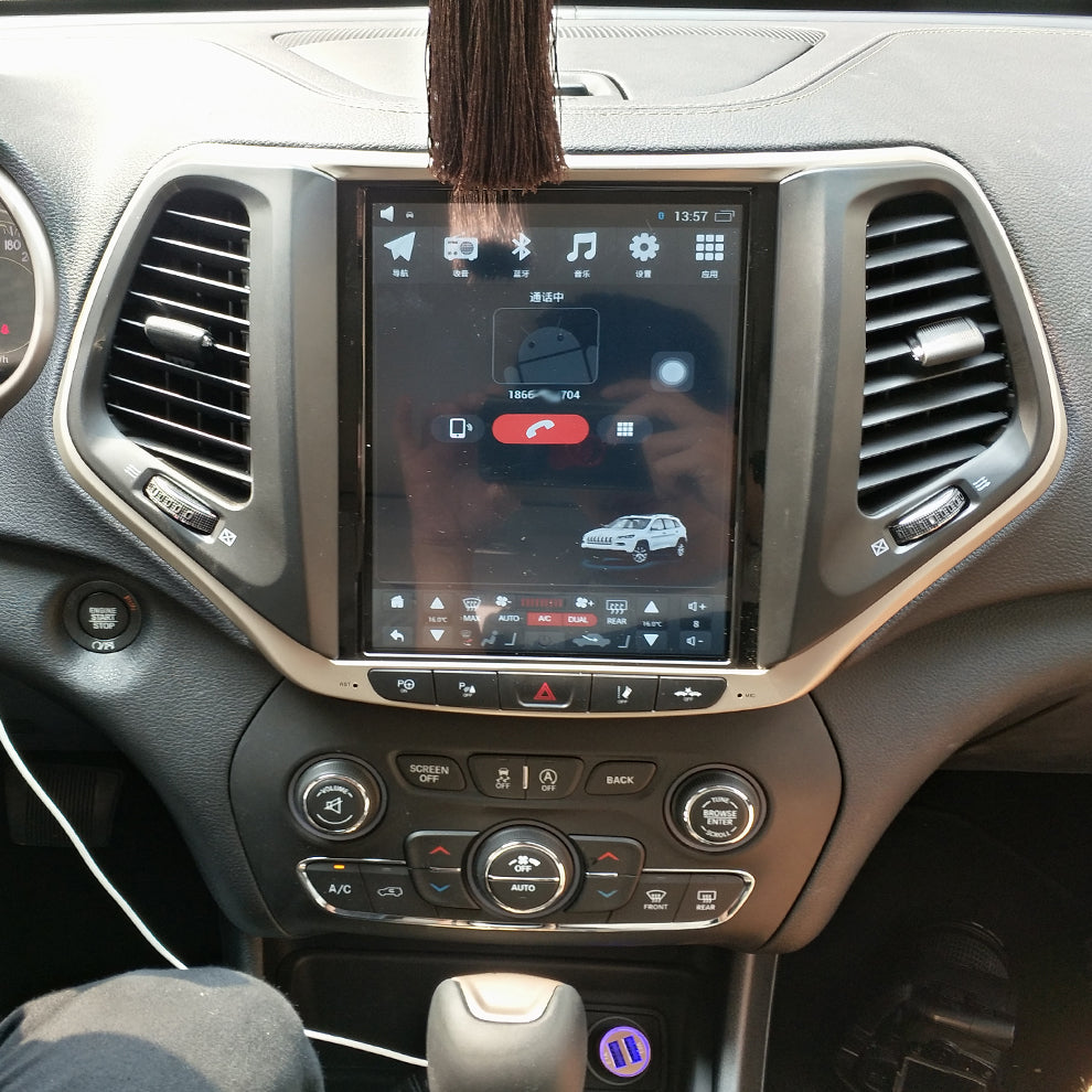 "Jeep Cherokee 2014 - 2018 10.4"" Vertical Screen Android Radio Tesla Style"