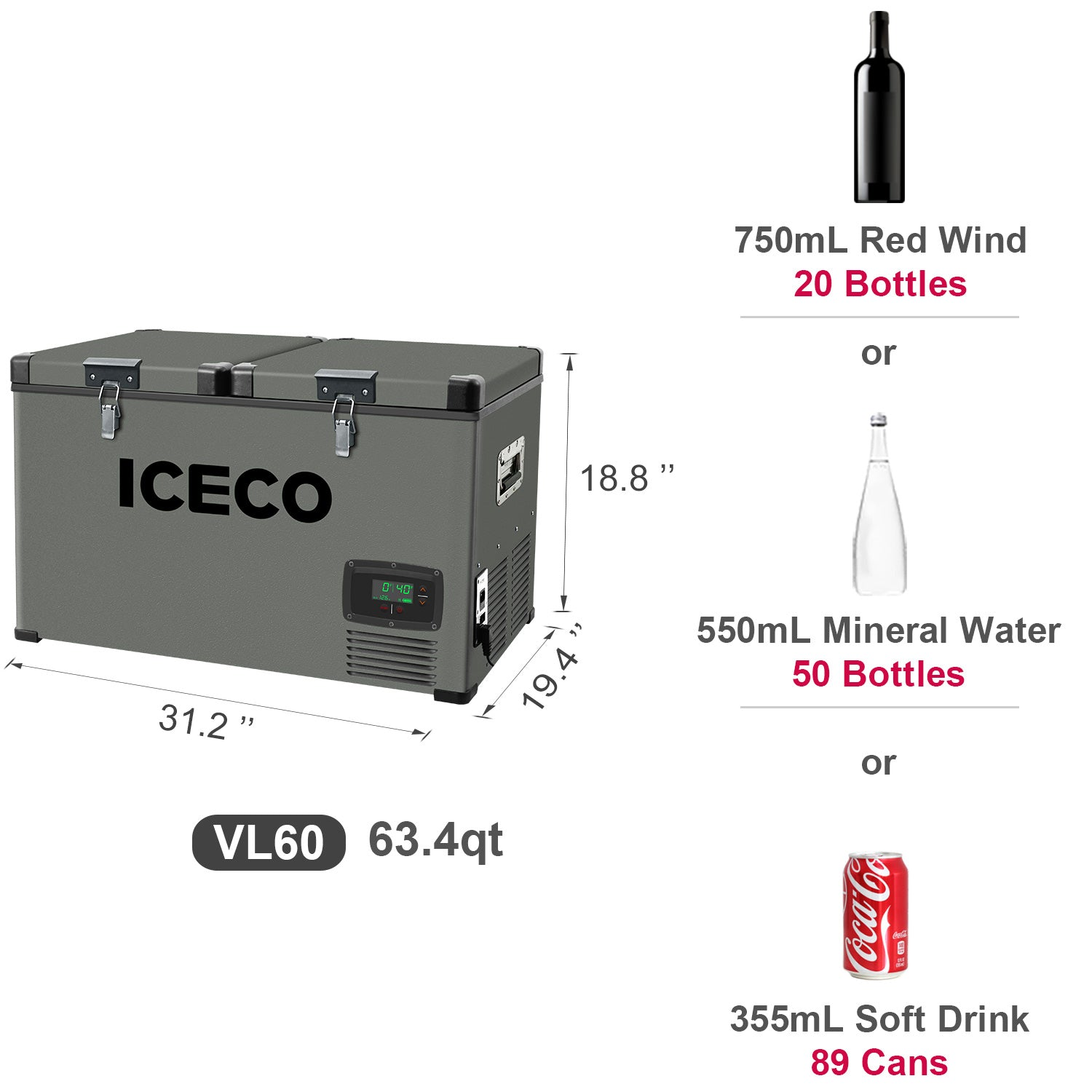 ICECO 15 Gallon Heavy Duty Portable Refrigerator VL60