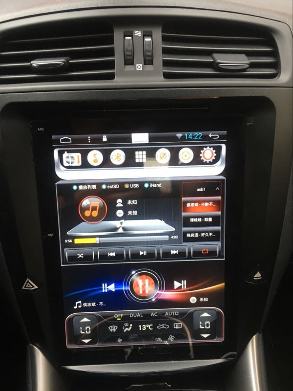 "Lexus IS 250 IS 300 IS 350 2005 - 2009 10.4"" Vertical Screen Android Radio with Aluminum Alloy Bezel Tesla Style"
