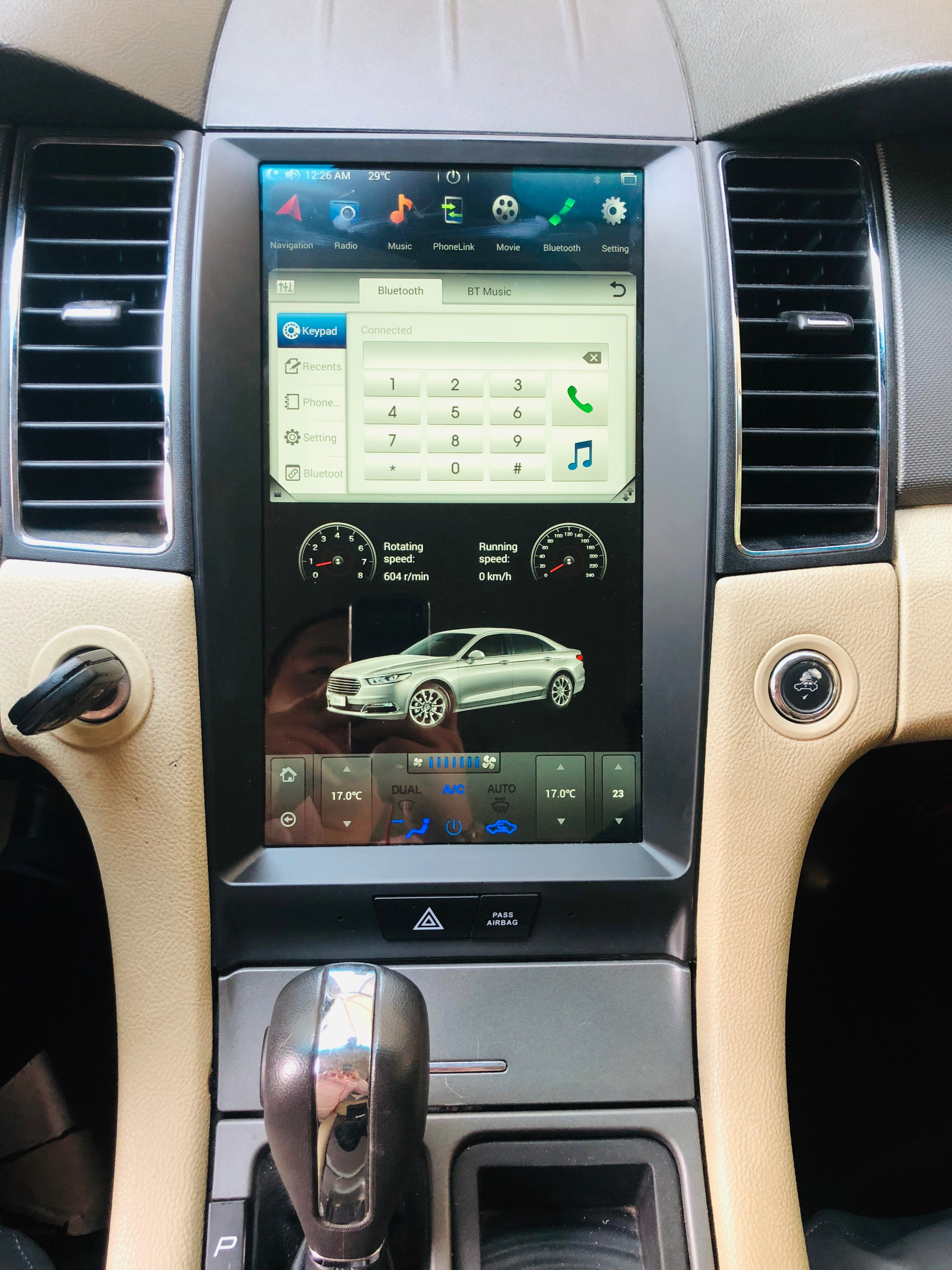 "Ford Taurus 2013 - 2019 13.3"" Vertical Screen Android Radio Tesla Style with 2K Resolution"