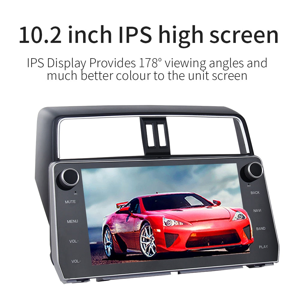 "10.2"" 2 Din Car Android Radio GPS Android 8.0 for Toyota New Prado 2018 MP3 4G 32G Octa Core"