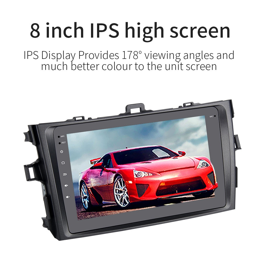 "8"" Android 9.0 Car Multimedia System for Toyota Corolla Radio 2008 2009 2010 2011 with Built-in Wifi Blueteeth No DVD Player"