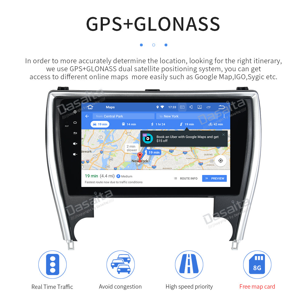 "Android 8.0 Car Multimedia Stereo for Toyota Camry US Version 2015 2016 2017 with 10.2"" IPS Screen Radio GPS"