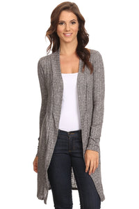 Women's Ribbed Open Front Long Sleeve Cardigan -  Peek A Boob LLC