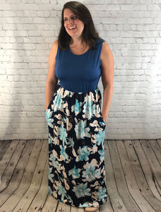 Nursing Maxi Dress Blue Floral Peek -  Peek A Boob LLC