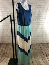 Nursing Maxi Dress Blue Chevron Peek -  Peek A Boob LLC