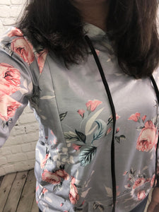 Peek Gray Floral Breastfeeding Hoodie -  Peek A Boob LLC