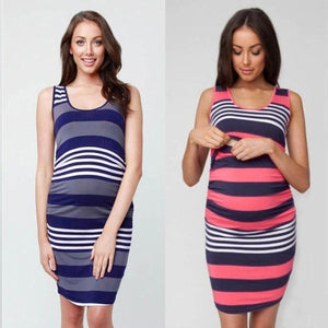 Blocky Striped Nursing and Breastfeeding Dress -  Peek A Boob LLC