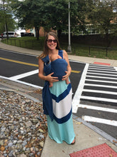 Nursing Maxi Dress Blue Chevron Peek