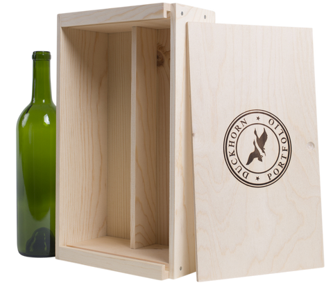 Two Bottle Wine Crate With Wood Burned Logo
