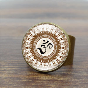 Vintage Antique Ring India Yoga OM Symbol Art Collage Glass Dome Women Rings Religion Jewelry Wholesale