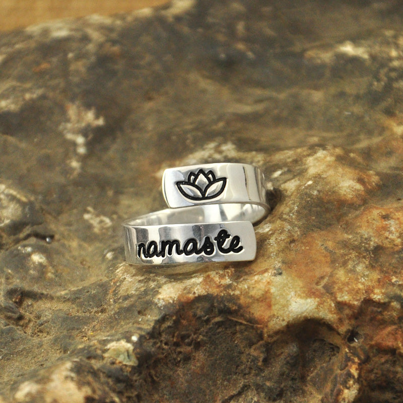 Hamsa hand ring, Namaste Wrap Ring customizable yoga ring, secret message quote jewelry personalized