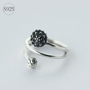 Sterling Silver jewelry 3-layers Multi-Rows Lotus Flower &Bub Ring Namaste Yoga