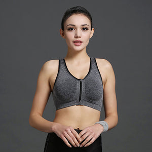 Yoga Bra Zipper Front Push Up Sports Bra Seamless Underwear Crop Top Gym Fitness