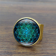 Mandala Flower of Life Vintage Ring Om Yoga Chakra Art Glass Dome Bronze Rings for Women Jewelry Silver Ring Adjustable