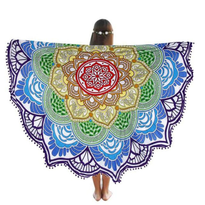 High Quality Multicolor Round Beach Pool Home Shower Towel Blanket Table Cloth Yoga Mat