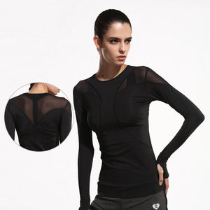 Yoga Top Net Yarn Sport Shirt Woman Fitness Running Clothing Deportiva Mujer Gym Sportswear for Women