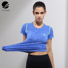 Hot sale Yoga Stripes top Gym Compression Women Sport T-shirts Dry Quick Running Short Sleeve Fitness Women's Clothes Tees tops