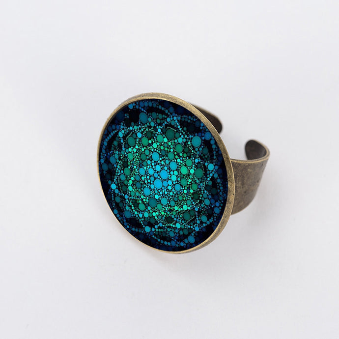 New Flower of Life Ring Om Yoga Chakra Rings Mandala Bronze Color Fashion Glass Dome Sacred Geometry Women Jewelry