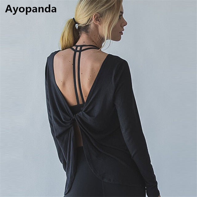 Yoga Shirts Women Sophie Long Sleeve Gym Sports Tank Top Loose Reverse Drape Activewear Exercise T-shirts