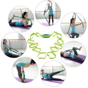 Yoga Stretch Strap Training Belt Gym Waist Leg Yoga Strap Cotton Stretching Exercise Band with Multiple Grip Loops for Fitness