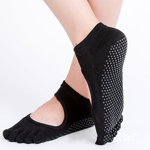 Yoga Socks Anti-slip Five Fingers Backless Silicone Non-slip 5 Toe Socks