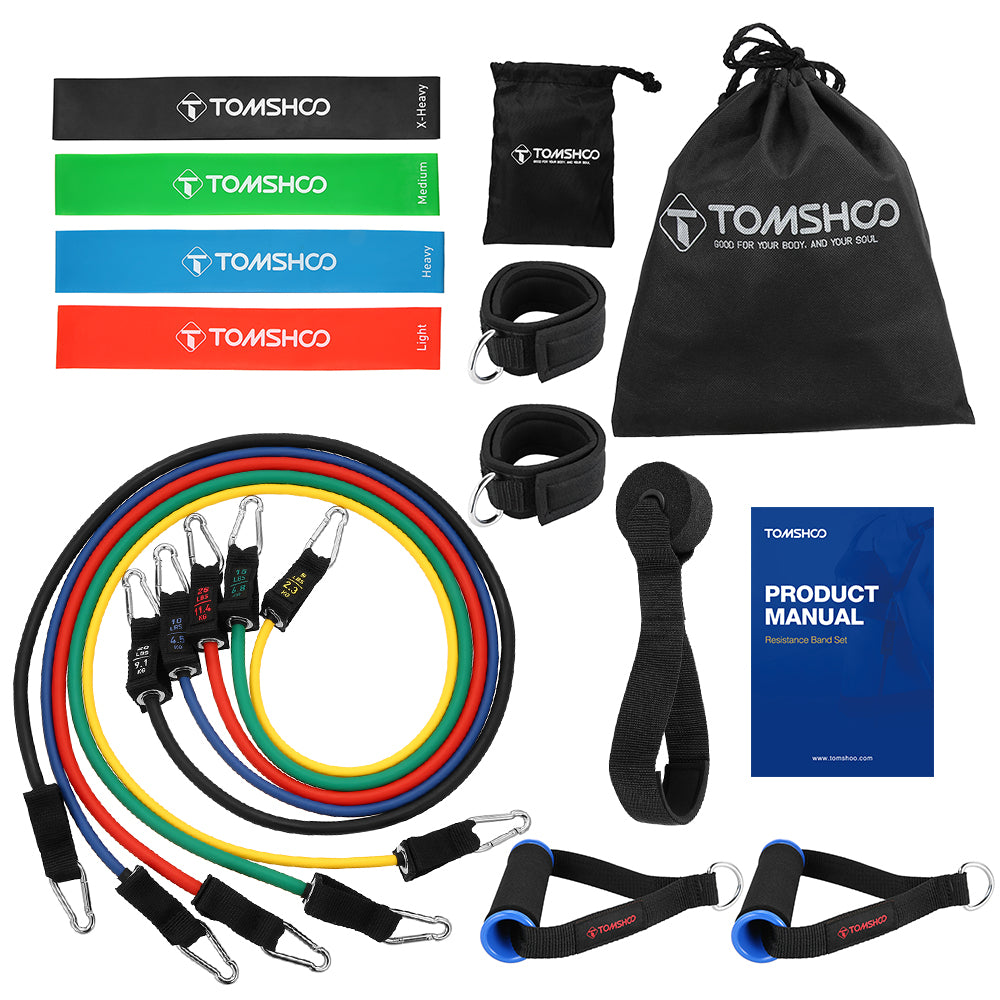 TOMSHOO 17Pcs Latex Resistance Bands Set Yoga Exercise Fitness Band Rubber Loop Tube Bands Gym Door Anchor Ankle Straps with Bag