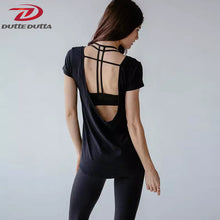 Yoga Tops Women Short Sleeve Cover Up Backless T-shirt Thin Loose Sport Tee Gym Fitness Jersey