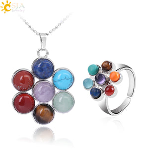 7 Chakra Natural Stone Pendant Necklaces Rings Set Flowers Yoga Healing Point Charm Reiki Jewelry Sets for Women