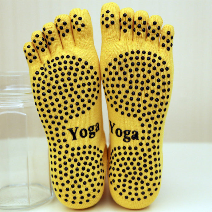 Yoga Socks Sport Pilates Ballet Dance Socks Five fingers silicone dots non-slip Socks