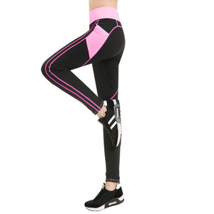 Yoga Pants Fitness Gym Tights With Side Mesh Pocket Contrast Color Yoga Legging Running Trousers