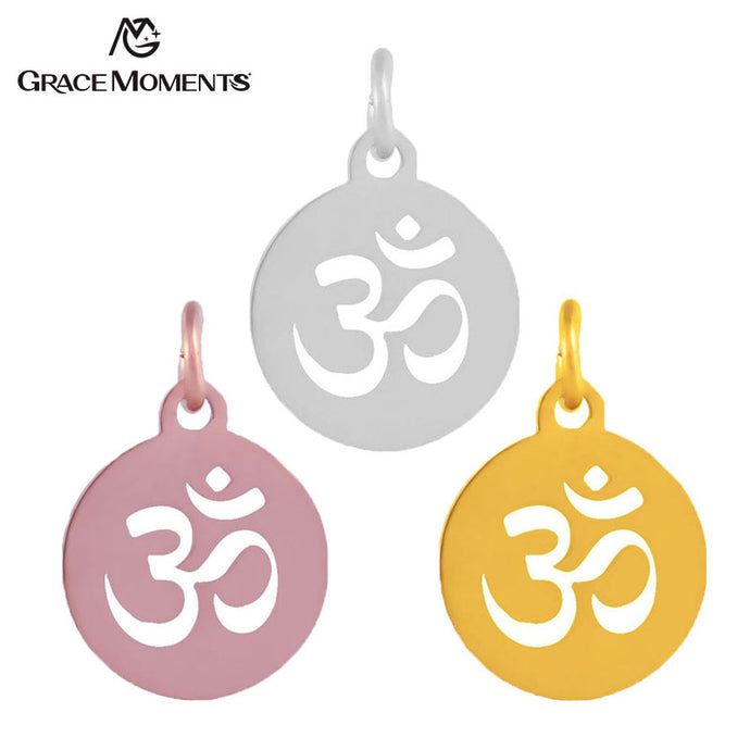 10pcs/lot Grace Moments Full Polish Stainless Steel Charm OM Yoga Charm Pendant with Split Ring Hot DIY Handmade Accessories