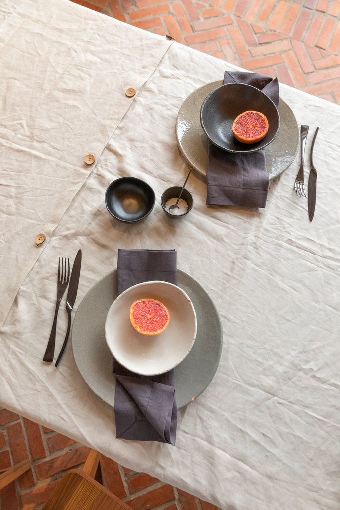 Pure Linen -Table Cloth (Coconut Button Center)