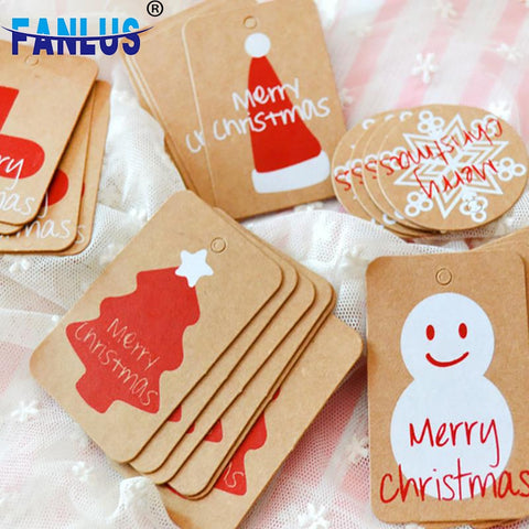 Happy Merry Snowflake Christmas Kraft Paper Tag Ornaments Decorations for Home Party Faovrs Xmas Trees Decoration Stocking Decor