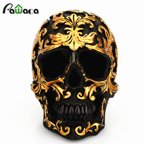 Resin Black Skull Head Golden Carving Halloween Party Decoration