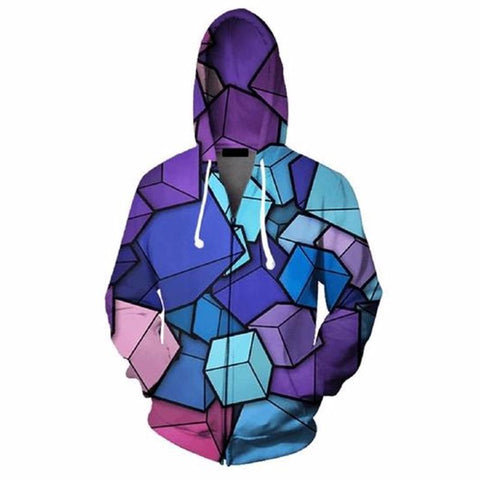 Cloudstyle Zipper 3D Cube Jacket
