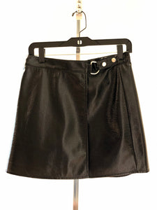 Black Patent Leather Wrap Skirt